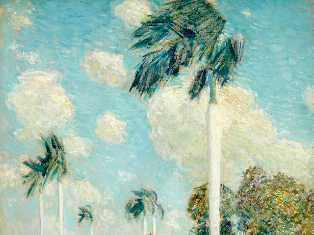 Childe Hassam (American, 1859-1935) Royal Palms, Melena, Cuba 28 1/2 x 23 1/2in