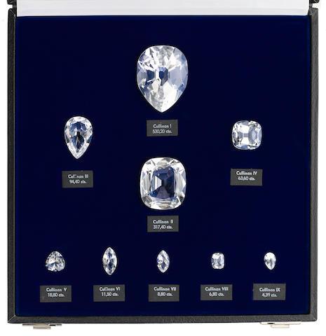 Nine Optically Clear Rock Crystal Quartz Replicas of the Cullinan Diamonds