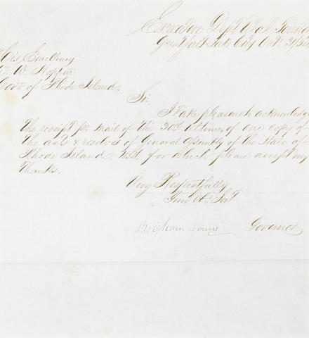 """YOUNG, BRIGHAM. 1801-1877. Letter Signed (""""Brigham Young"""") as Governor of Utah Territory,"""