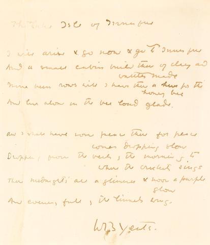 "YEATS, WILLIAM BUTLER. 1865-1939. Autograph Manuscript Signed (""W B Yeats""), entitled ""The Lake Isle of Innisfree,"""
