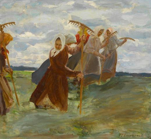 Nikolai Vasilievich Kharitonov (Russian, 1880-1944) Summer harvest 62 x 67cm (24 7/16 x 26 3/8in).