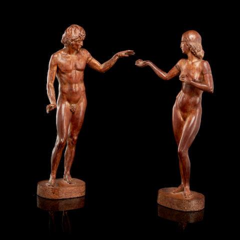 Gleb Derujinsky (Russian/American, 1888-1975) Adam and Eve height: 39.6cm (15 3/8in).
