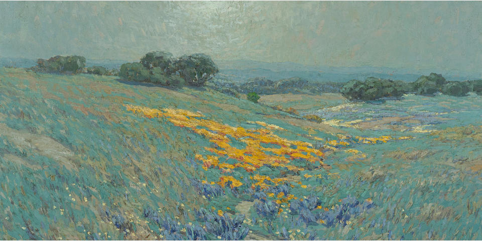 Granville Redmond (American, 1871-1935) Poppies and lupine 12 1/4 x 18in overall: 17 1/4 x 23in