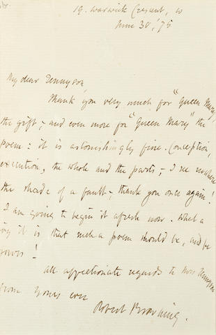 """BROWNING, ROBERT. 1812-1889.  Autograph Letter Signed (""""Robert Browning""""), 1 p with integral blank, 8vo, 19 Warwick Crescent, W., London, June 30, 1875,"""