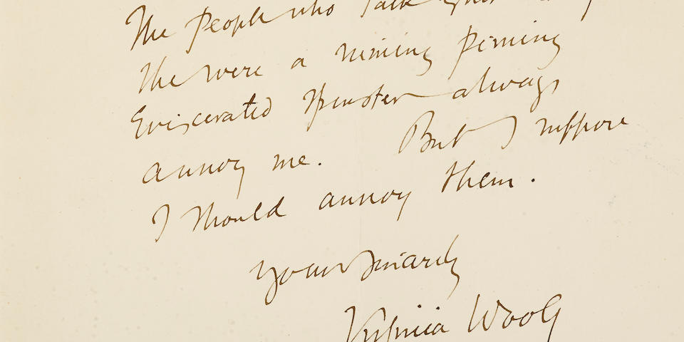 "WOOLF, VIRGINIA. 1882-1941. Autograph Letter Signed (""Virginia Woolf""), 1 p, 4to,"