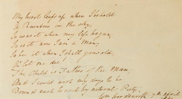"WORDSWORTH, WILLIAM. 1770-1850. Autograph Manuscript Signed (""Wm Wordsworth""), My Heart Leaps Up, 1 p, oblong 8vo, n.p., April 7, 1840,"