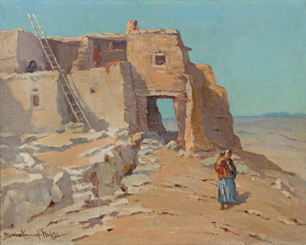Marion Kavanagh Wachtel (American, 1870-1954) Walpi, on the first mesa 15 3/4 x 19 3/4in overall: 21 1/4 x 25 1/4in