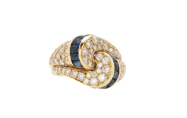 A diamond and sapphire ring, Gemlok