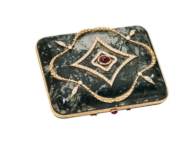 A moss agate, diamond and ruby box
