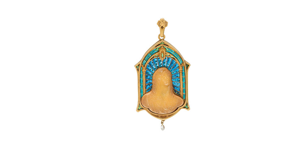 A turn of the century plique- à-jour enamel, horn and pearl Madonna pendant, French