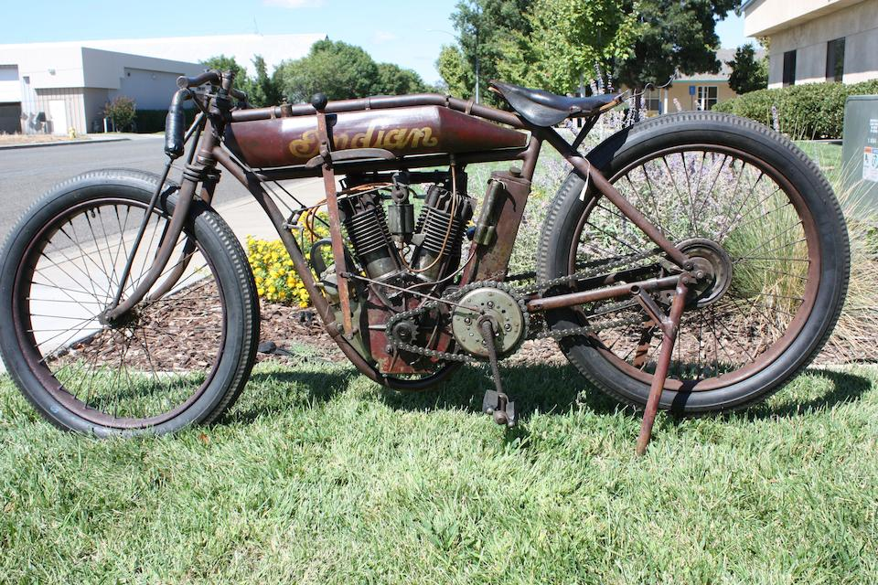 Authentic and largely unrestored 'two-valve' racebike,1912 Indian Twin Boardtrack Racer Engine no. 70D899