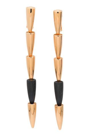 A pair of wood, diamond and 18k gold ear clips, Vhernier