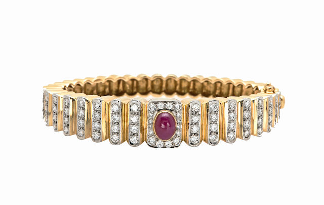 A ruby and diamond bangle bracelet