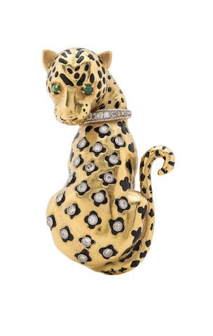 A diamond, enamel and 18k gold leopard brooch