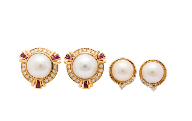 A pair of mabé cultured pearl, diamond and ruby ear clips, together with a pair of mabé cultured pearl and diamond earrings