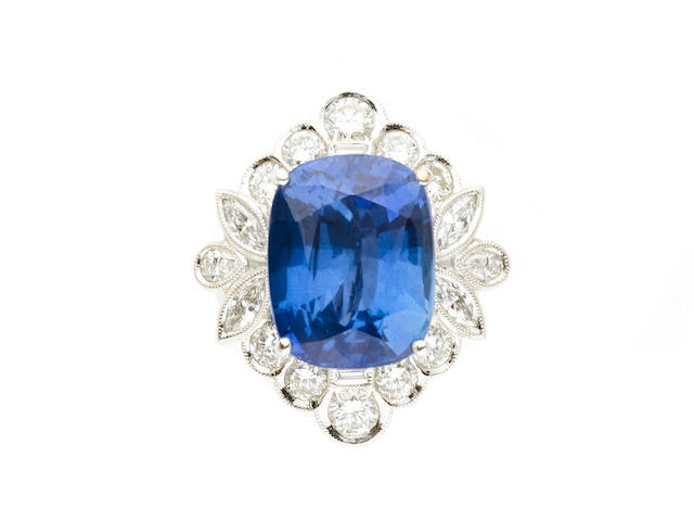 A sapphire and diamond ring-pendant