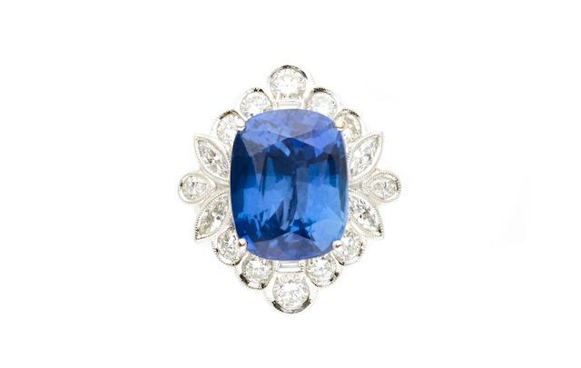 A sapphire and diamond ring-pendant