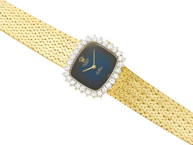 "A diamond and 18k gold integral bracelet ""Cellini"" wristwatch, Rolex"