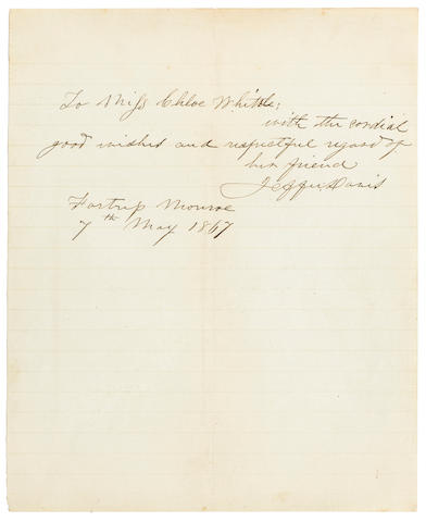 "DAVIS, JEFFERSON. 1808-1889.  Autograph Note Signed (""Jeffer. Davis""), 1 p, 8vo, Fortress Monroe, Virginia, May 7, 1867,"