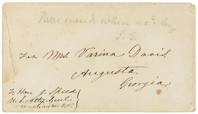"DAVIS, JEFFERSON. 1808-1889. Autograph Envelope addressed ""For Mrs. Varina Davis, Augusta, Georgia,"" 3 1/4 x 5 3/4 inches, [Fortress Monroe, Virginia], n.d.,"