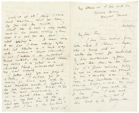 """WOOLF, VIRGINIA. 1882-1941. Autograph Letter Signed (""""AVS""""), 4 pp recto and verso, 8vo"""