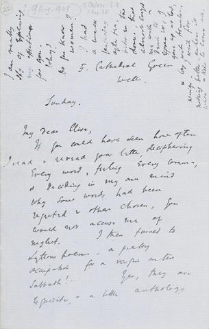 WOOLF, VIRGINIA. 1882-1941. Autograph Letter, 4 pp recto and verso, 8vo