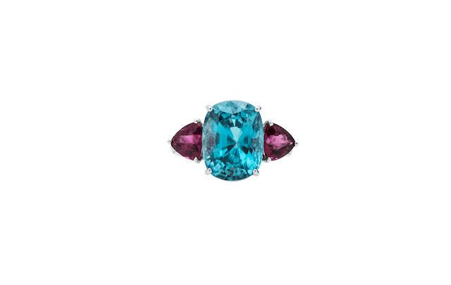 A blue zircon, tourmaline and diamond ring