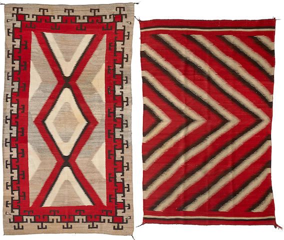 A group of two Navajo rugs sizes approximately 4ft. 6in. x 7ft. 10in., 4ft. 6in. x 7ft.