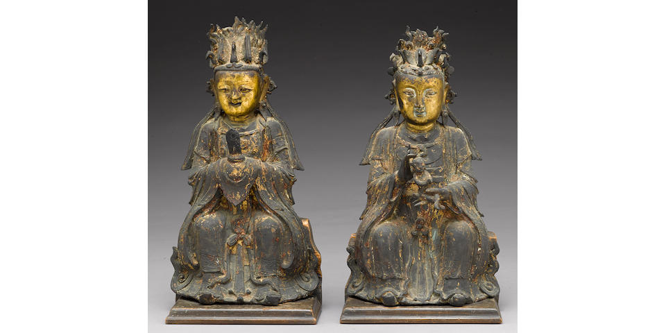 Two gilt-accented bronze Daoist female divinities Ming Dynasty