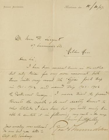 """AMUNDSEN, ROALD. 1872-1928.  Autograph Letter Signed (""""Roald Amundsen""""), 1 p, 4to, n.p., October 15, 1909, on Amundsen's stationery,"""