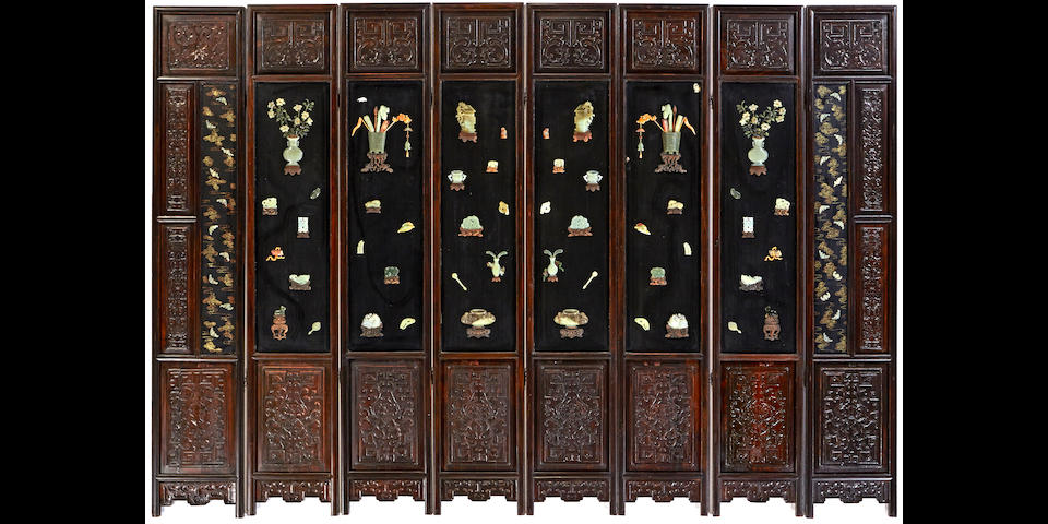 An eight-panel screen with jade and hardstone overlay Late Qing/Republic period