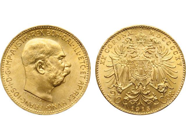 Austria, Franz Joseph I, Gold 20 Coronas, MDCCCCXV (1915) (96)