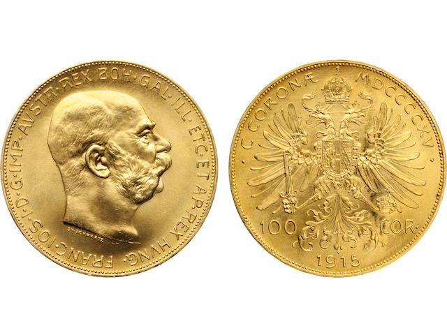 Austria, Franz Joseph I, Gold 100 Corona Restrikes, 1915 (14)