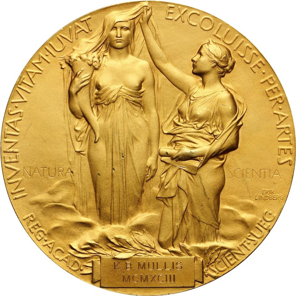Dr. Kary Mullis' 1993 Nobel Prize in Chemistry, awarded to him for the invention of the Polymerase Chain Reaction (PCR). Nobel medal, struck in 18 carat gold and plated in 24 carat gold, approx. 175g, 66 mm in diameter.
