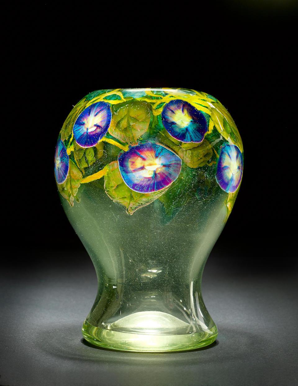 Tiffany Studios  An Important Morning Glory Paperweight Vase, circa 1915