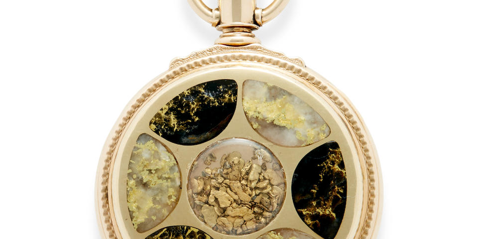 E. Howard & Co., Boston. A remarkable 14K gold box hinge hunter cased watch set with native gold and gold quartzSeries VII, No. 225525, the case dated 1887