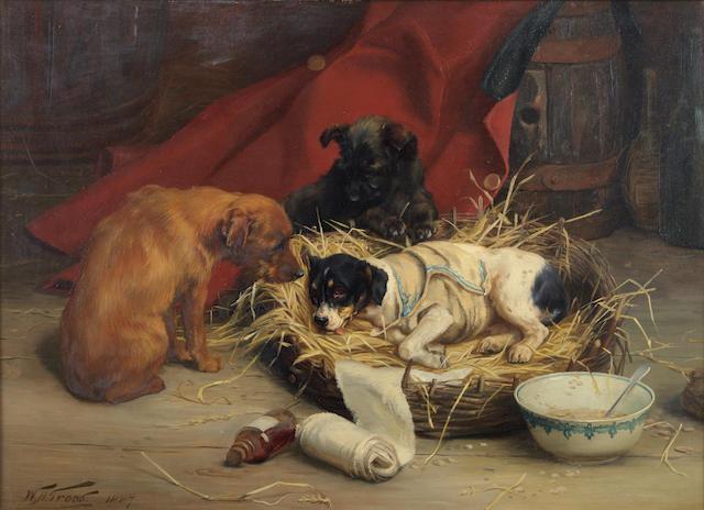 William Henry Hamilton Trood (British, 1860-1899) Shamming 16 1/4 x 22 1/4in (41 x 56.5cm)