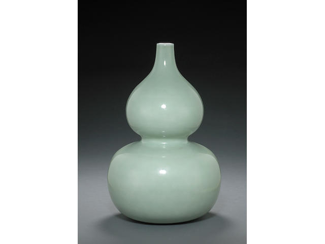 A celadon glazed double gourd vase Qianlong mark