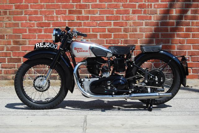 """Built like a Gun, Goes like a Bullet"",1947 Royal Enfield Model J 500cc Twinport Frame no. 1371 Engine no. J542"