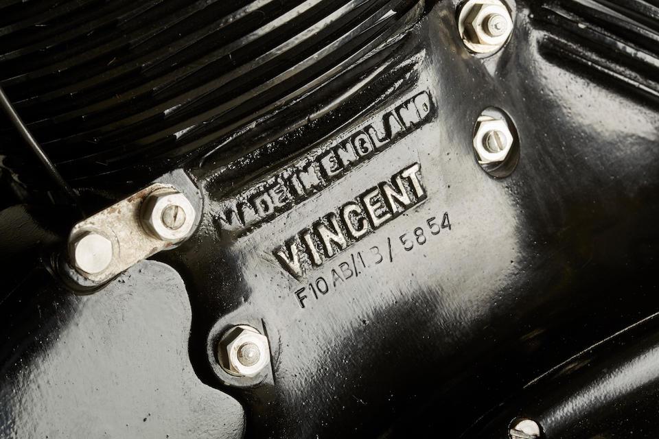 "Built by Matthew Biberman to celebrate ""Bib Sid"" Biberman's love of Vincents,1951 Vincent 998CC SERIES C ""BIG SID"" BLACK SHADOWUpper and Rear Frame no. RC7754B Frame no. RC7754B Engine no. F10AB/1B/5854"