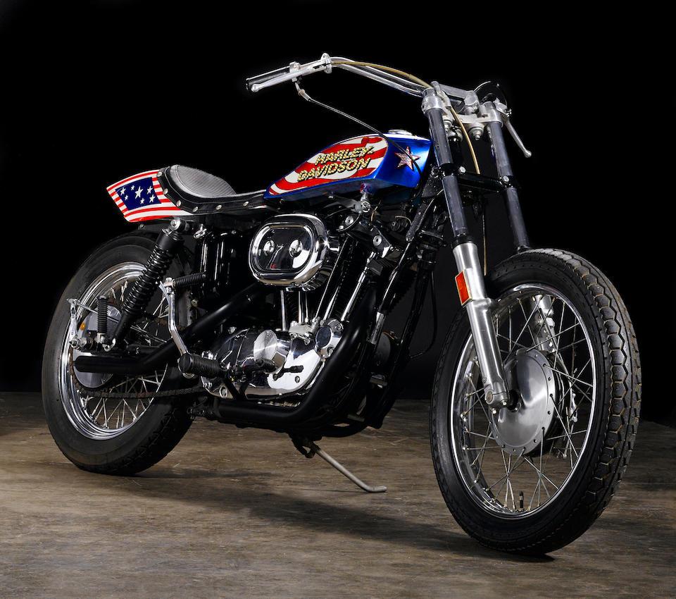 Film used, built by Bud Ekins for the movie 'Viva Knievel!',1976 Harley-Davidson XL1000 Evel Knievel Custom