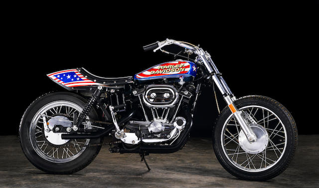 Film used, built by Bud Ekins for the movie 'Viva Knievel!',1976 Harley-Davidson XL1000 Evel Knievel Custom