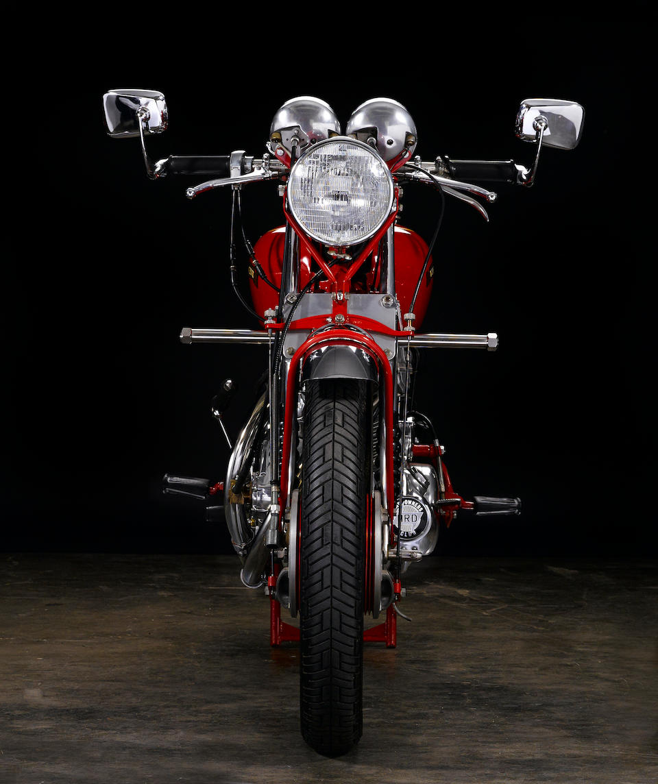 Rare 'one-of-one' Black Shadow variant in Chinese Red, confirmed by the Vincent Owner's Club,1951 Vincent Series C 'Red' White ShadowUpper and Rear Frame no. RC8047A Engine no. F10/1A/6147