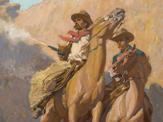 Maynard Dixon (1875-1946) Buck Peters, Ranchman 27 3/4 x 19 1/4in overall: 36 x 27 1/2in (Painted in 1911)