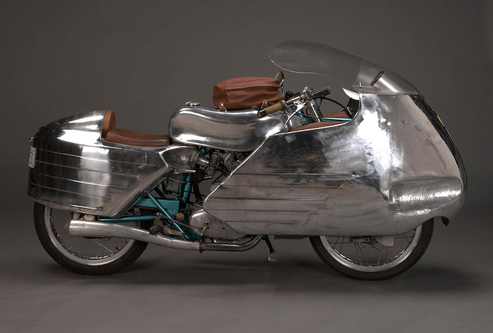 With Evan Wilcox hand-formed aluminum bodywork,1959 Ducati 175cc 'Dustbin' Special Frame no. CA967744 Engine no. 77126