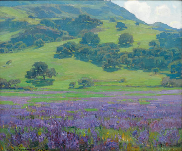 William Wendt (American, 1865-1946) Lupine patch 25 x 30in overall: 32 1/2 x 37 1/2in (Painted in 1921)