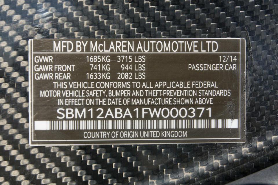 2015 McLAREN P1VIN. SBM12ABA1FW000371