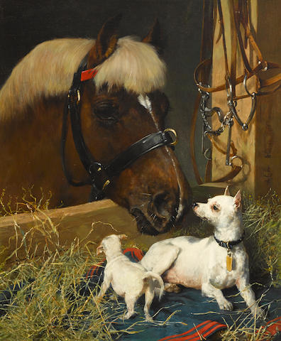Julius von Blaas (Austrian, 1845-1923) The New Stable Companion 30 x 25in (76.2 x 63.5cm)