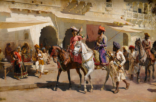 Edwin Lord Weeks (American, 1849-1903) Start for the Hunt at Gwalior  34 1/4 x 52 1/4in (86.9 x 132.7cm)