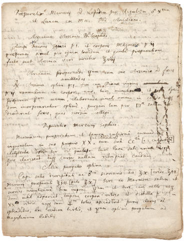 """NEWTON, ISAAC, SIR. 1642-1727. Autograph Manuscript in Latin and English, 4 full and 2 partial pp on conjoined leaves, 4to (200 x 155 mm), n.p., c. early 1670s], entitled: """"Praeparatio mercurij ad lapidem per regulu/ am ferrum et Lunam , ex mss. Phi Americani"""" [Preparation of mercury to a stone through metallic antinomy and silver: from a manuscript of an American philosopher],"""